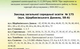 Територія обслуговування ЗЗСО № 175